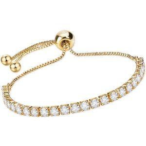 925 & 18k YG Adjustable Tennis Slider Bracelet